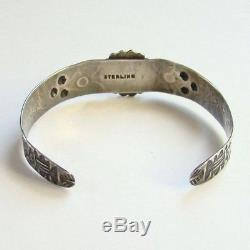 Vintage Fred Harvey Kingman Turquoise Sterling Silver Cuff Bracelet 1940's