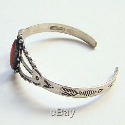 Vintage Fred Harvey Maisels Sterling Silver Coral Bracelet Cuff size 6.25 1940's
