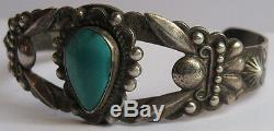 Vintage Fred Harvey Navajo Indian Repousse Silver & Turquoise Cuff Bracelet