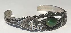 Vintage Fred Harvey Navajo Indian Silver Green Turquoise Cuff Bracelet