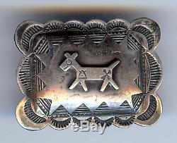 Vintage Fred Harvey Navajo Indian Silver Stampwork Dog Pin Brooch
