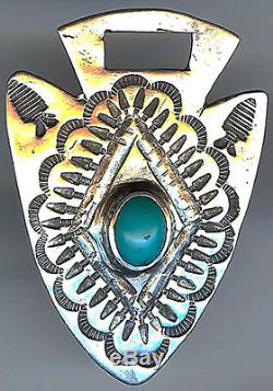 Vintage Fred Harvey Navajo Indian Silver & Turquoise Stampwork Arrow Watch Fob