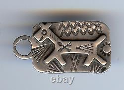 Vintage Fred Harvey Navajo Indian Stampwork Silver Horse Tag Pendant