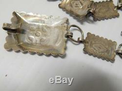 Vintage Fred Harvey Navajo Indian Sterling Silver Link Styl Concho Belt Hat Band