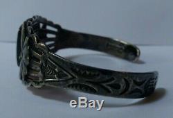 Vintage Fred Harvey Navajo Indian Sterling Silver Turquoise Cuff Bracelet