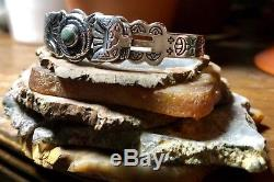 Vintage Fred Harvey Navajo Turquoise & Silver Stamped Snake & Thunderbird Cuff
