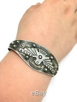 Vintage Fred Harvey Navajo sterling silver Thunderbird cuff Bracelet