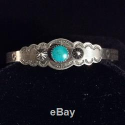 Vintage Fred Harvey Old Navajo Designs Turquoise Sterling Silver Bracelet 1920's