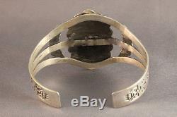 Vintage Fred Harvey Old Navajo Designs Turquoise Sterling Silver Bracelet 1940
