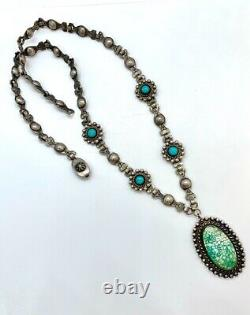 Vintage Fred Harvey Southwestern Navajo Sterling Silver Green Turquoise Necklace