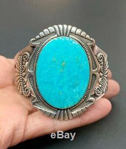 Vintage Fred Harvey Southwestern Sterling Silver Turquoise Cuff Bracelet 7
