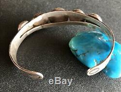Vintage Fred Harvey Sterling Silver Ball Native American Cuff Bracelet