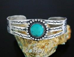 Vintage Fred Harvey Sterling Silver Turquoise Stamped Cuff Bracelet 1940's S6.5