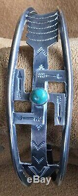 Vintage Fred Harvey Sterling Silver and Turquoise Bracelet Whirling Log Stamped