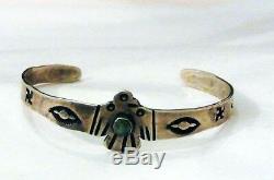 Vintage Fred Harvey Turquoise Sterling Silver Thunderbird Bracelet Sz 4.5+- 1920