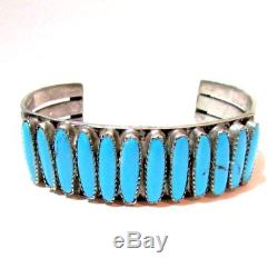 Vintage Fred Harvey Type Navajo Heavy Sterling Silver Turquoise Cuff Bracelet