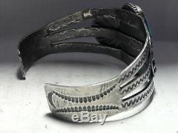 Vintage Fred Harvey era Blue Turquoise Sterling Silver cuff bracelet
