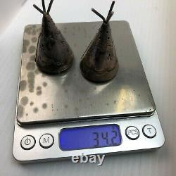 Vintage Fred Harvey era sterling silver Native American Teepee salt and pepper s