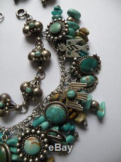 Vintage Fred Harvey pieces sterling silver turquoise thunderbird charm bracelet