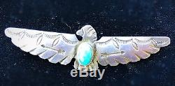 Vintage Fred harvey Era Sterling SilverTurquoise THUNDERBIRD Pin
