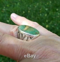 Vintage Green Turquoise Ring Bell Trading Post Sterling Silver Fred Harvey Era