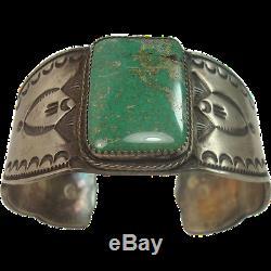 Vintage HEAVY NAVAJO Fred Harvey Sterling Silver Turquoise Bracelet Size 7