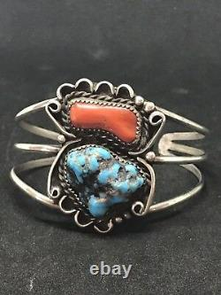 Vintage Large Navajo Sterling Silver Old Pawn Fred Harvey Era Turquoise Bracelet