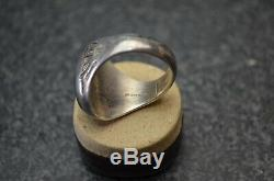 Vintage Malachite Mens Ring Fred Harvey Era Old Pawn NAVAJO Silver Southwest 10