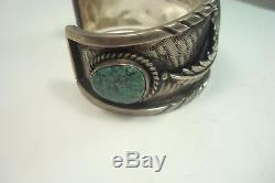 Vintage NAVAJO Fred Harvey Sterling Silver Cerrillos Turquoise Bracelet Sz 7-1/4