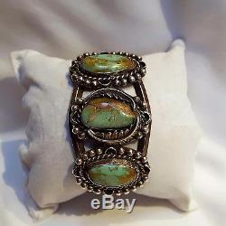 Vintage NAVAJO Fred Harvey Sterling Silver ROYSTON Turquoise Bracelet Sz 6-1/4
