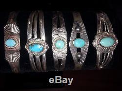 Vintage NAVAJO Fred Harvey Sterling Silver Turquoise Bracelet Size 6 1/4 1940