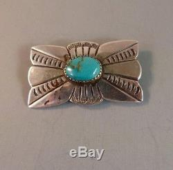 Vintage NAVAJO PIN Classic Fred Harvey Turquoise and Sterling Silver 1940's