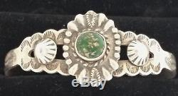 Vintage NAVAJO Sterling Silver FRED HARVEY ERA CONCHO TURQUOISE Cuff Bracelet