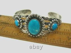 Vintage Native American Fred Harvey Era Stamped Silver Turquoise Cuff Bracelet