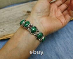 Vintage Native American Navajo Sterling Silver Malachite Cuff Bracelet