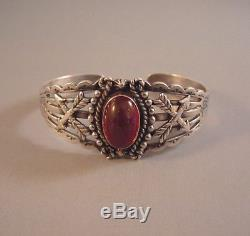 Vintage Navajo Classic Maisel's Fred Harvey Sterling Silver Bracelet Cuff 1950