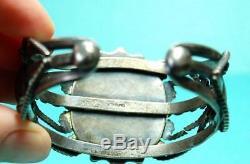 Vintage Navajo FRED HARVEY ERA GREEN BLUE TURQUOISE Sterling SIlver Bracelet