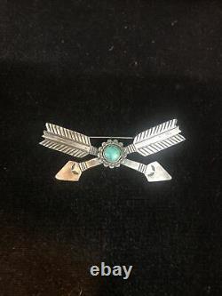 Vintage Navajo-Fred Harvey Era Crossed ArrowSterling Silver Turquoise Pin