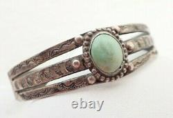 Vintage Navajo Fred Harvey Era Green Turquoise Sterling Silver Cuff Bracelet