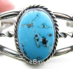 Vintage Navajo Fred Harvey Era Morenci Turquoise Sterling Silver Cuff Bracelet