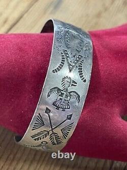 Vintage Navajo Fred Harvey Era Sterling Silver Cuff Bracelet Whirling Logs Log
