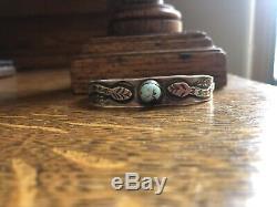 Vintage Navajo Fred Harvey Era Sterling Silver Snake Bracelet Whirling Log Arrow