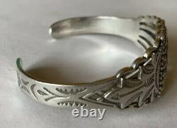 Vintage Navajo Fred Harvey Era Sterling Silver Turquoise Cuff Bracelet