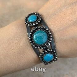 Vintage Navajo Fred Harvey Era Sterling Silver and Turquoise Cuff Bracelet