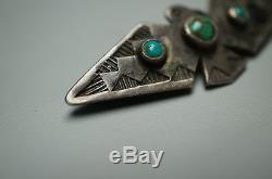 Vintage Navajo Fred Harvey Era Thunderbird Sterling Silver Turquoise Pin Brooch