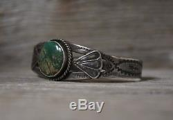 Vintage Navajo Fred Harvey Era Turquoise Coin Silver Cuff Bracelet