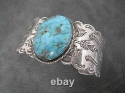 Vintage Navajo Fred Harvey Era Turquoise Sterling Silver Wide Cuff Bracelet
