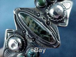 Vintage Navajo Fred Harvey Era WHIRLING LOGS TURQUOISE Sterling Silver Bracelet