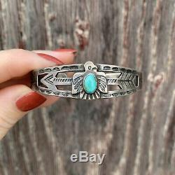 Vintage Navajo Fred Harvey Sterling Silver Turquoise Thunderbird Bracelet 1930s