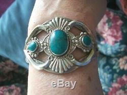 Vintage Navajo Old Pawn Fred Harvey Cuff Bracelet 3 Turquoise Thunderbird